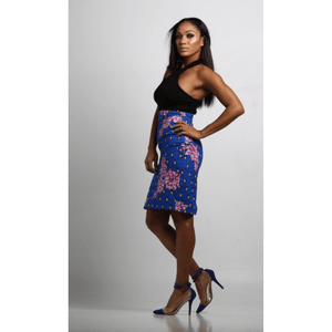 African Print Emma Pencil Skirt - Blue