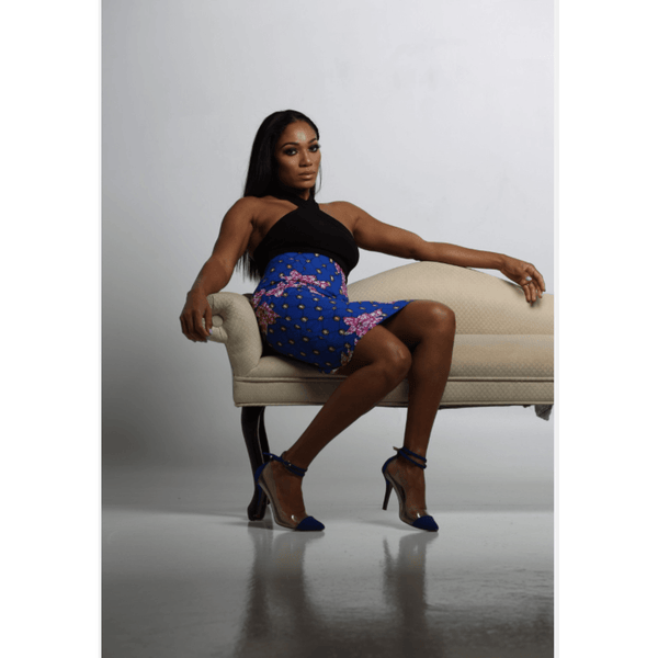 Ankara Pencil Skirt- Blue - N'omose Couture