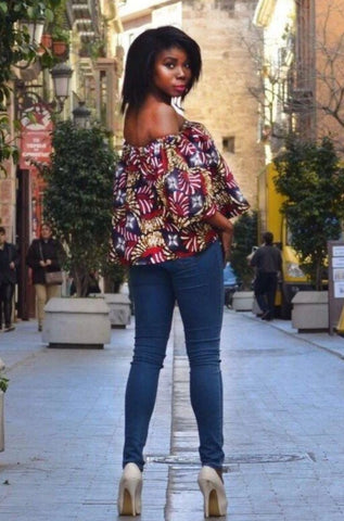 African Print Oye Off Shoulder Top