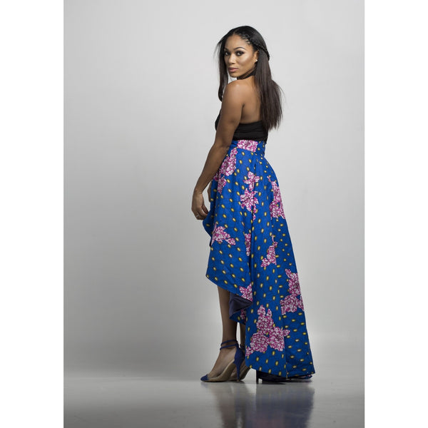Ivie African Print High Low Skirt - Blue