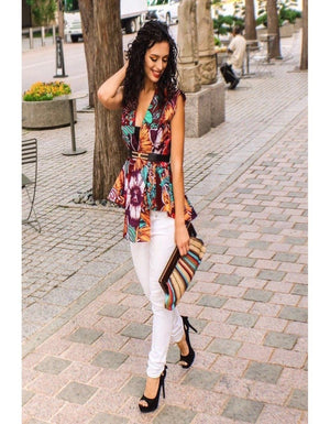 Nome African Print High Low Peplum Vest
