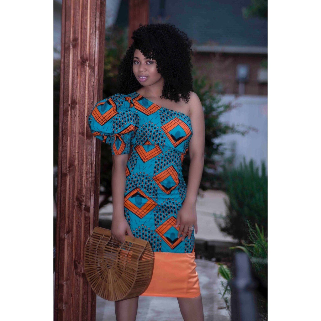 Mimi African Print one shoulder dress