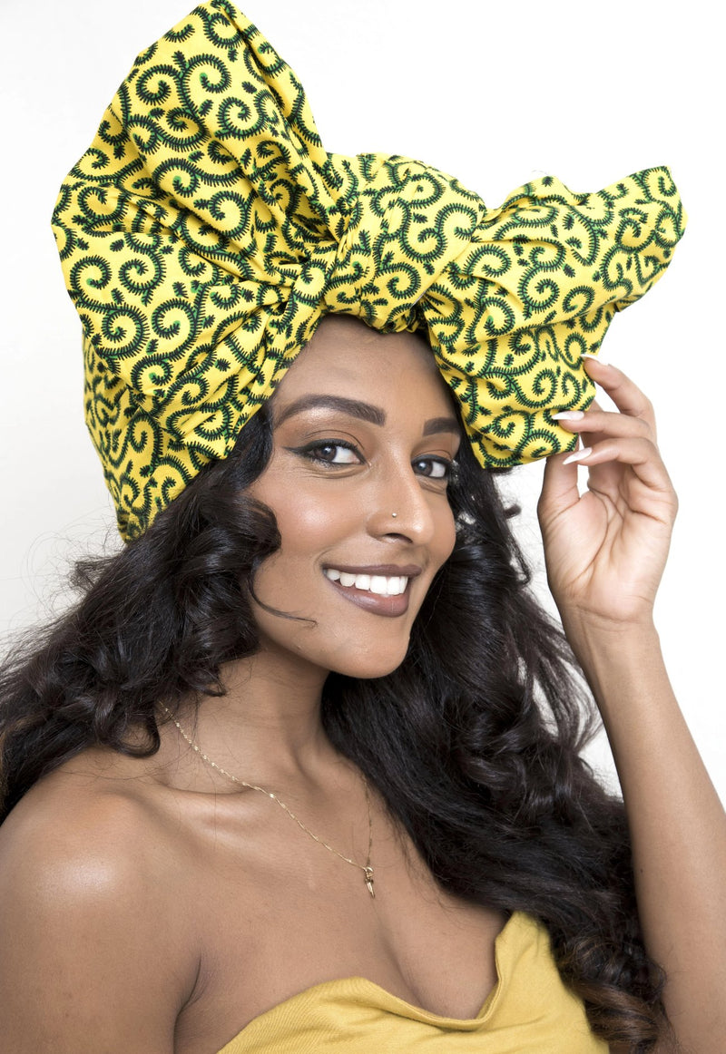 African Print Headwrap - Yellow