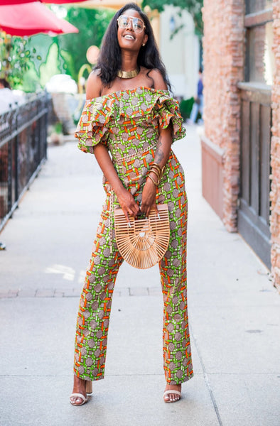 African Print Efe Ruffle Jumpsuit