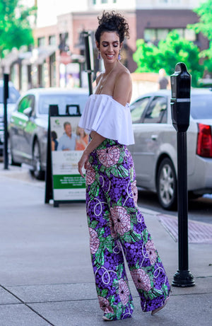 African Print Wide Leg Pant - Purple