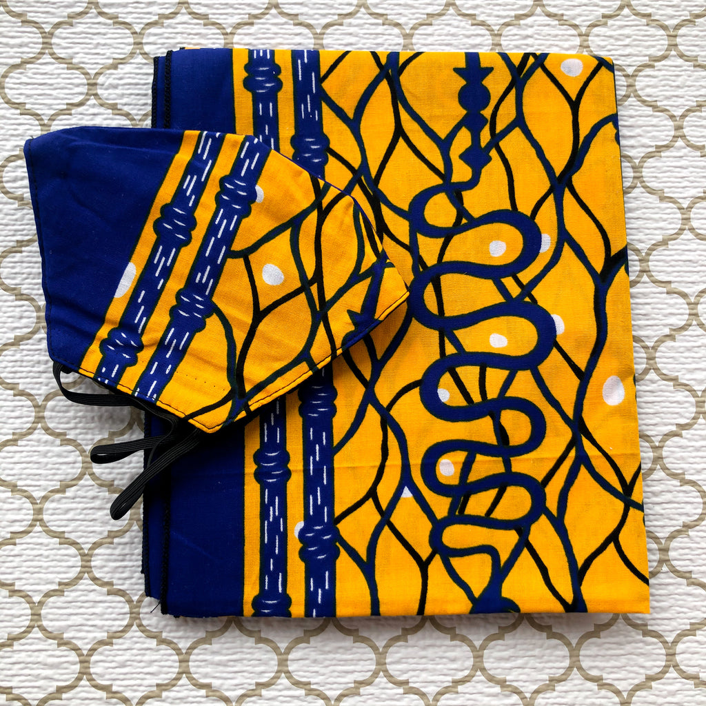African Print Mask And Headwrap Set - Yellow and Blue