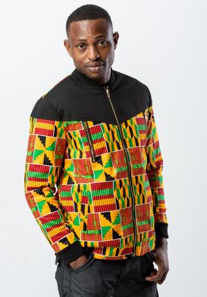 Kente Men Jacket - Black