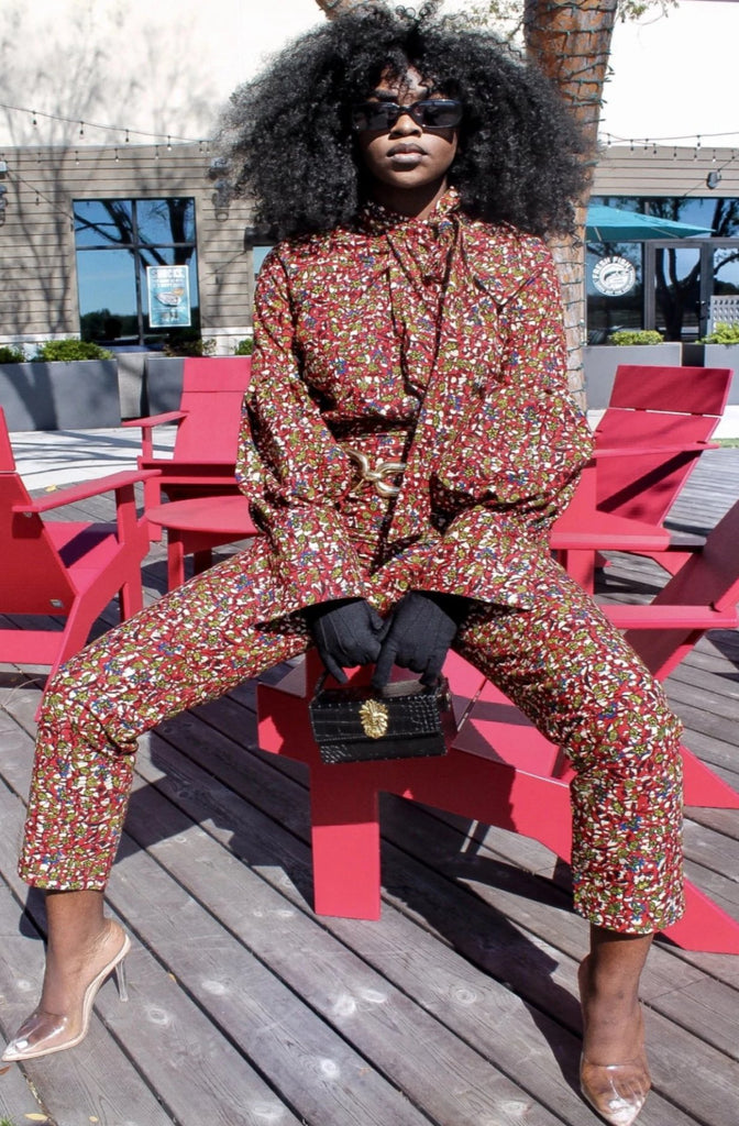 African Print Ore Top and Pant Set- Red