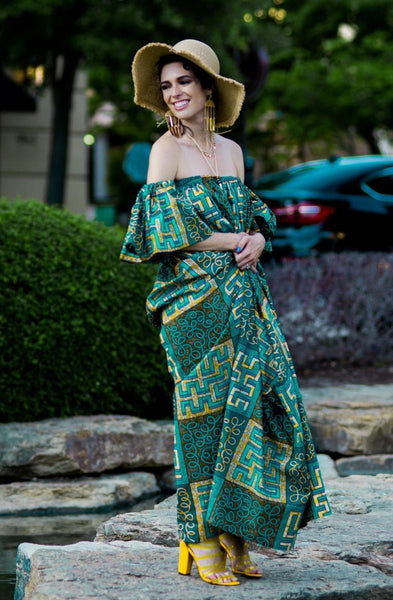 African Print Oye  Maxi Dress - Teal