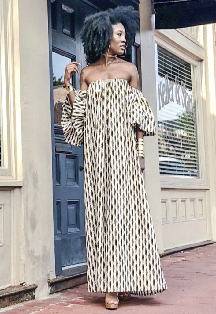 African Print Oye  Maxi Dress -white