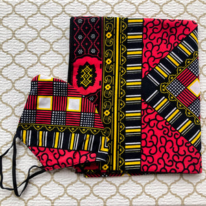 African Print Mask And Headwrap Set - Red and Black