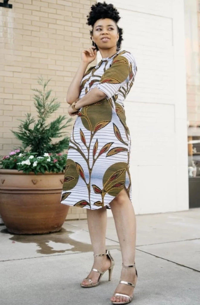 Omoye African Print Shirt Dress - Flower