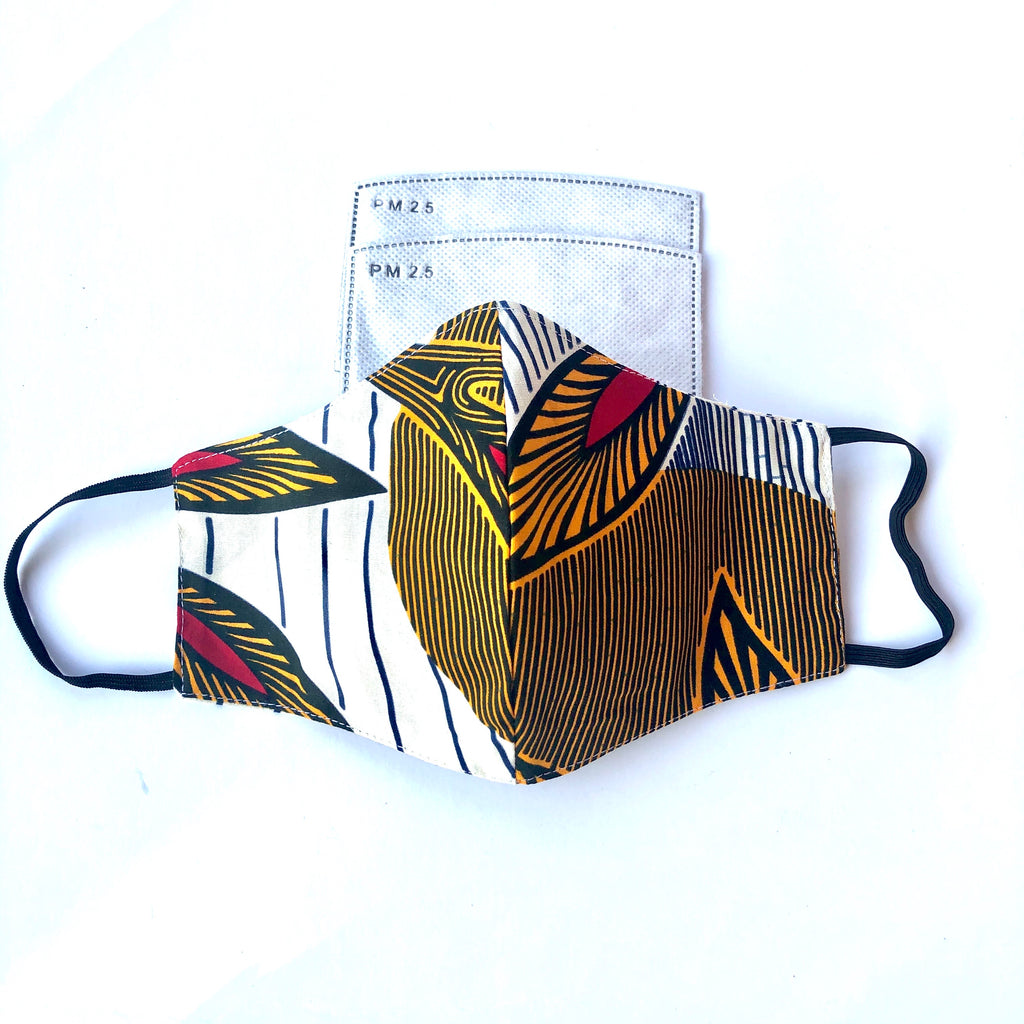 African Print Face Mask with Filter