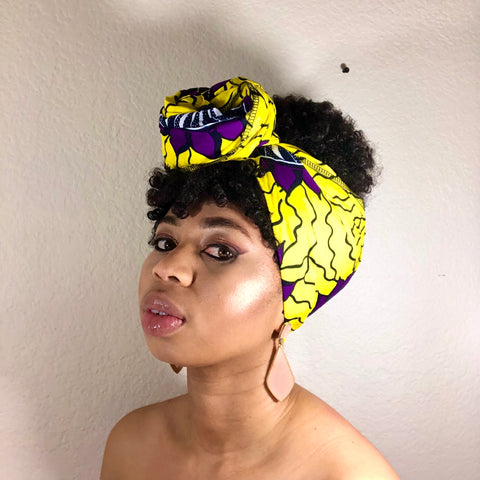 African Print Headwrap - Yellow and Purple