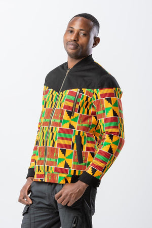 Kente fabric bomber jacket