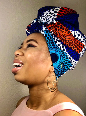 African Print Headwrap - Blue Disc