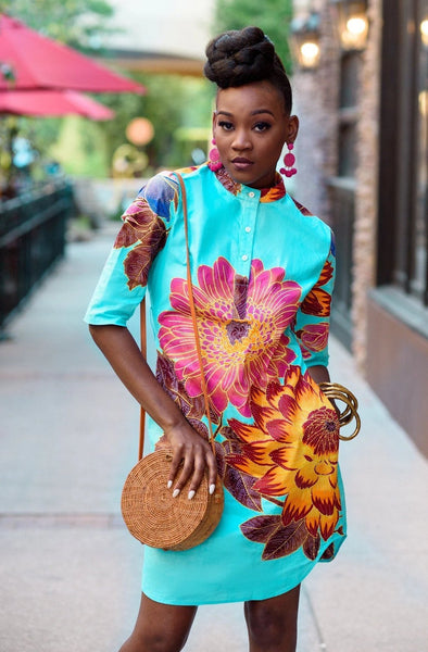 Omoye African Print Shirt Dress