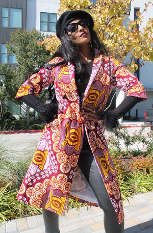 African Print Fosa Trench Jacket