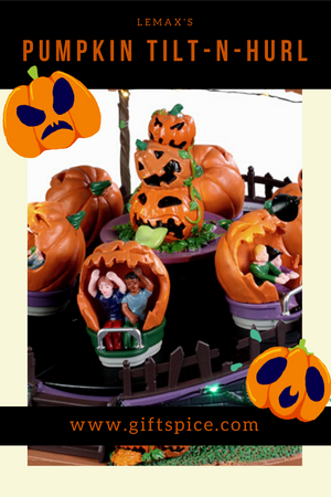 Get ready to spin with Lemax's Pumpkin Tilt-N-Hurl!