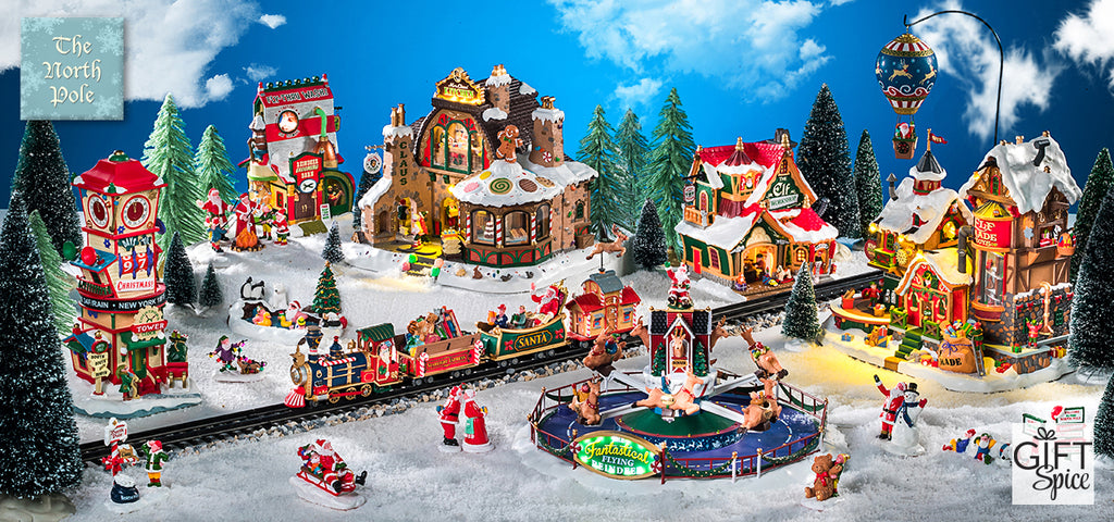 Big Bear Village Christmas.North Pole Village Featuring Lemax Christmas Collectibles