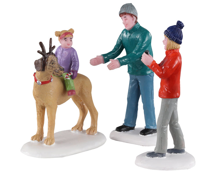 Lemax 02923 Rover Plays Rudolph, Set of 3, Figurine- Gift Spice
