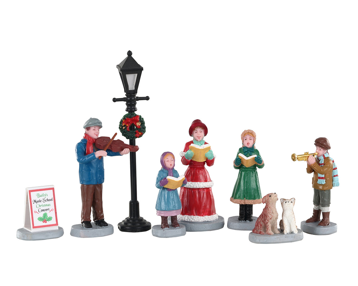 Lemax 02949 Baily's Music School Carolers, Set of 8, Figurine- Gift Spice
