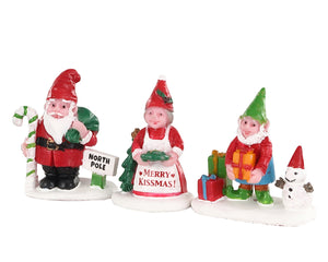 Lemax 04739 Christmas Garden Gnomes, Set of 3, Accessory- Gift Spice