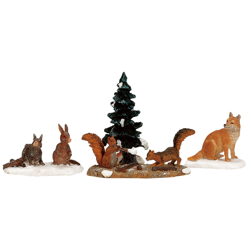 Lemax 12516 Woodland Animals Set Of 4, Figurine- Gift Spice