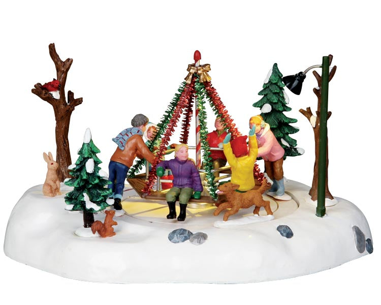 Lemax 14340 Holiday Merry-Go-Round, Animated Table Piece- Gift Spice