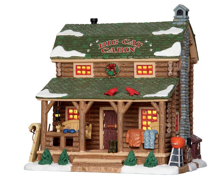 Lemax 25389 Big Cat Cabin, Standard Lighted Building- Gift Spice