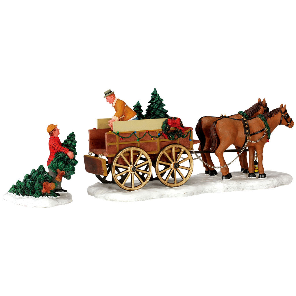 Lemax 43451 Christmas Tree Wagon Set Of 2, Table Piece- Gift Spice