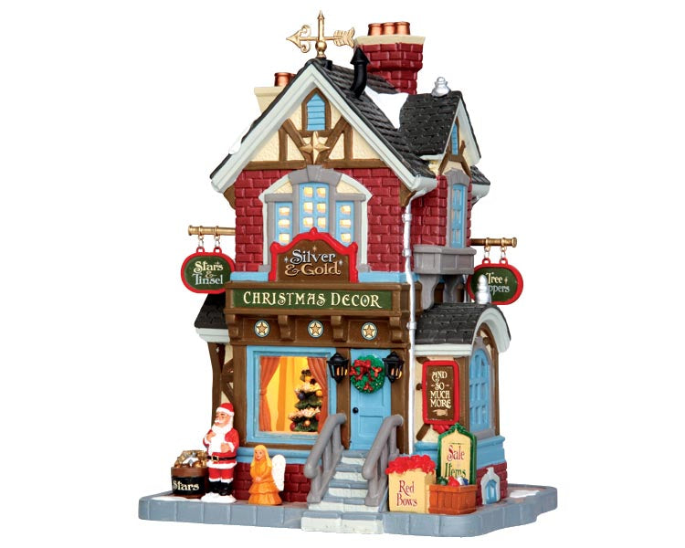 Lemax 45699 Silver & Gold Shop, Standard Lighted Building- Gift Spice