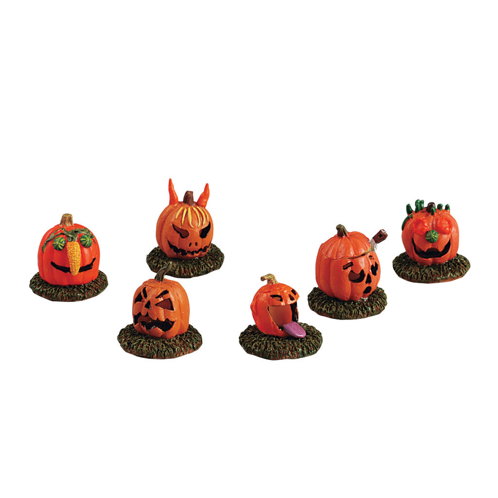Lemax Spooky Town 52117 Pumpkin People, set of 6, Figurine- Gift Spice