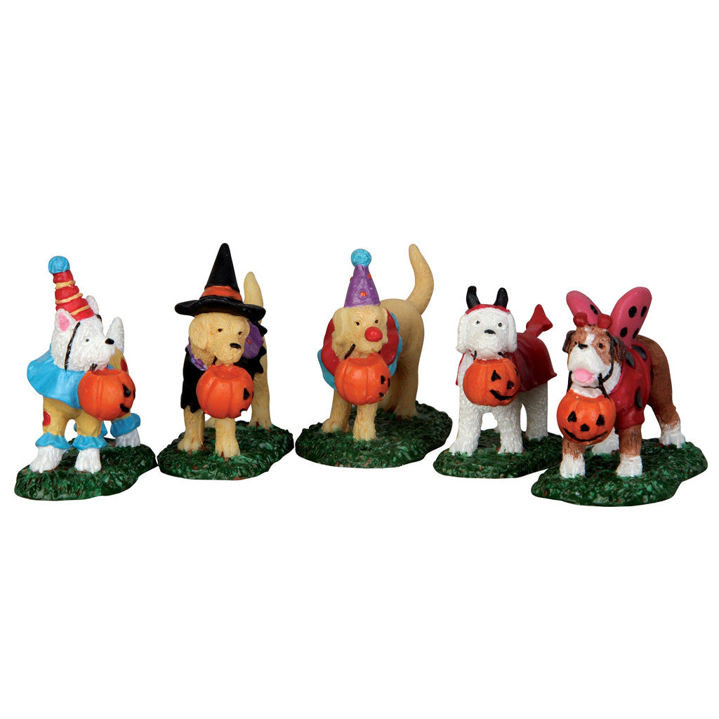Lemax 52301 Trick-or-Treating Dogs, set of 5, Figurine- Gift Spice