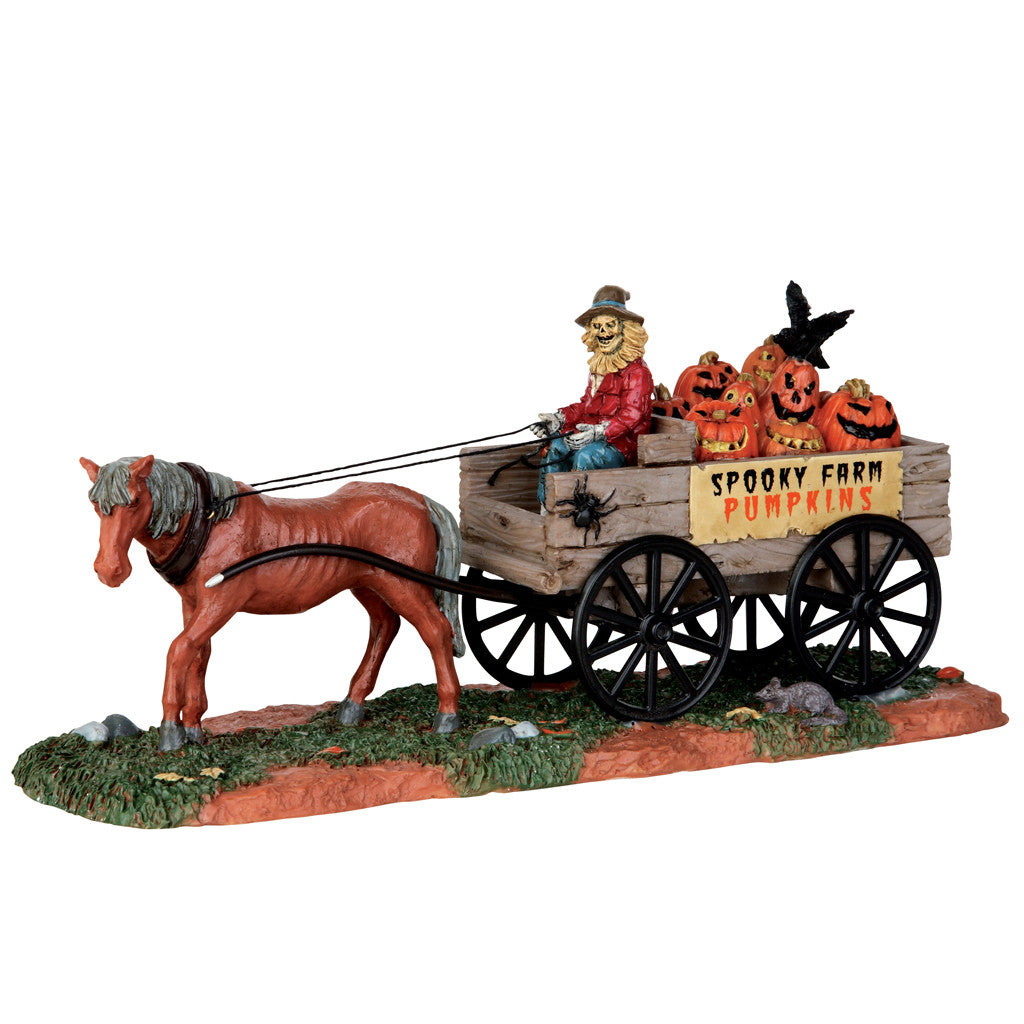 Lemax 53203 Pumpkin Wagon, Table Piece- Gift Spice