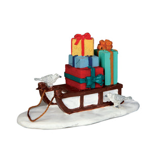 Lemax 54937 Sled With Presents, Accessory- Gift Spice