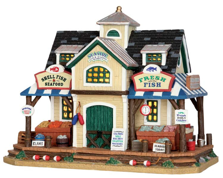 Lemax 55945 Seaside Fish & Seafood Market, Standard Lighted Building- Gift Spice