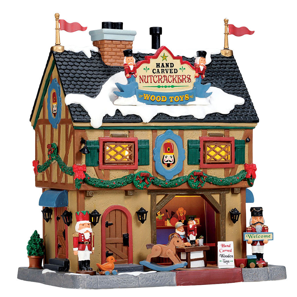 Lemax 55994 Nutcracker & Wood Toy Carve, Standard Lighted Building- Gift Spice