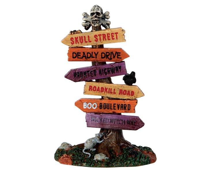 Lemax 64054 Scary Road Signs, Accessory- Gift Spice