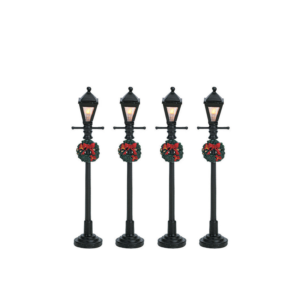 64498 Gas Lantern Street Lamp, Set Of 4, Lemax Collectibles- Gift Spice