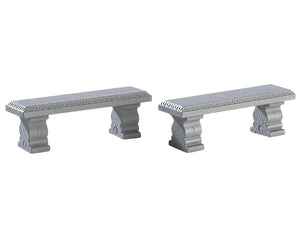 Lemax 74236 Plaza Bench, Set of 2, Accessory- Gift Spice