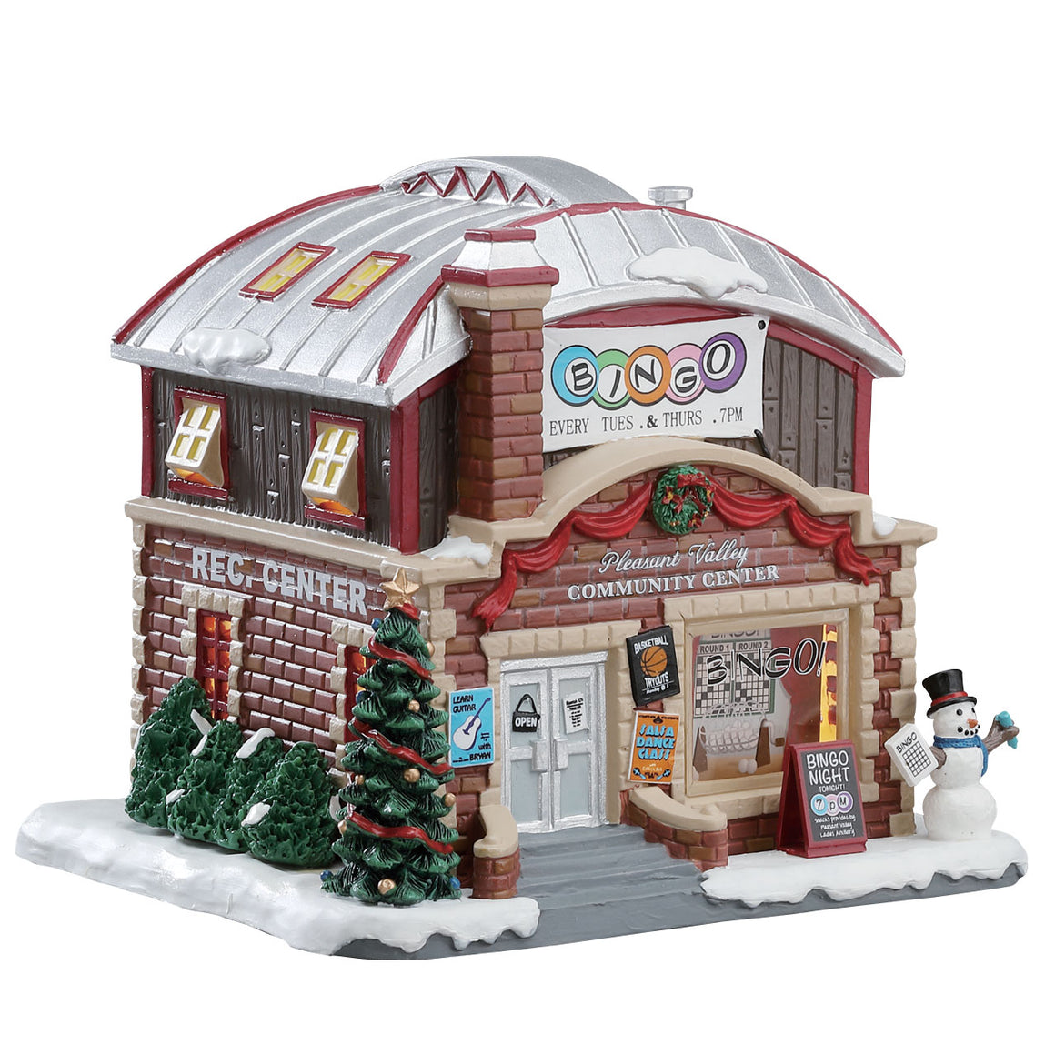 Lemax 75214 Pleasant Valley Community Center, Standard Lighted Building- Gift Spice