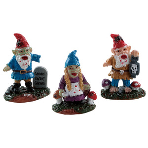 Lemax 82569 Zombie Garden Gnomes Set Of 3, Figurine- Gift Spice