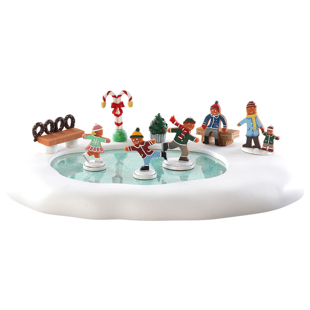Lemax 84352 Gingerbread Skating Pond, Animated Table Piece- Gift Spice