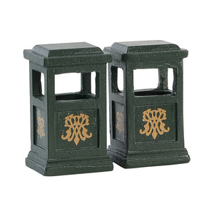 Lemax 84386 Green Trash Can Set Of 2, Accessory- Gift Spice