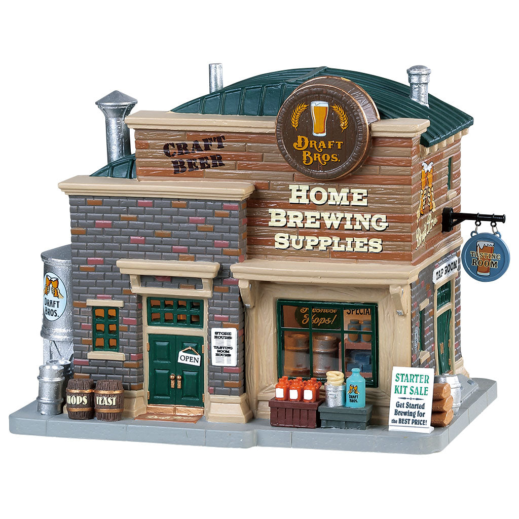 Lemax 85329 Draft Bros. Home Brewing Supplies, Standard Lighted Building- Gift Spice