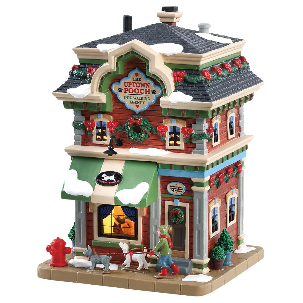 Lemax 85369 Dog Walking Agency, Standard Lighted Building- Gift Spice
