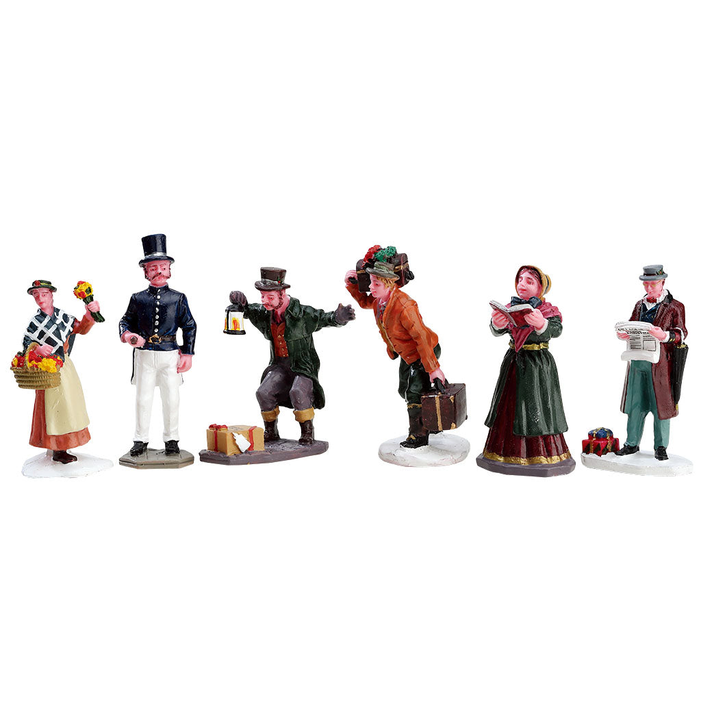 Lemax 92355 Townsfolk Figurines Set Of 6, Figurine- Gift Spice