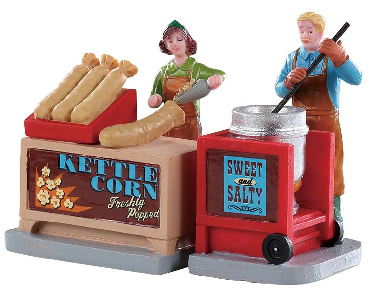 Lemax 92746 Kettle Corn Stand, Set of 2, Figurine- Gift Spice
