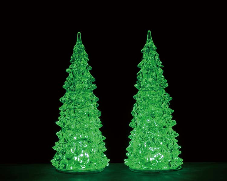 Lemax 94517 Crystal Lighted Tree, 3 Color Changeable Medium, Set of 2, Accessory- Gift Spice
